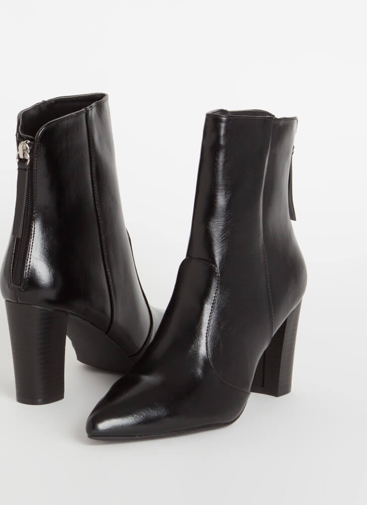 Fashion Expert Chunky Pointy Booties BLACK