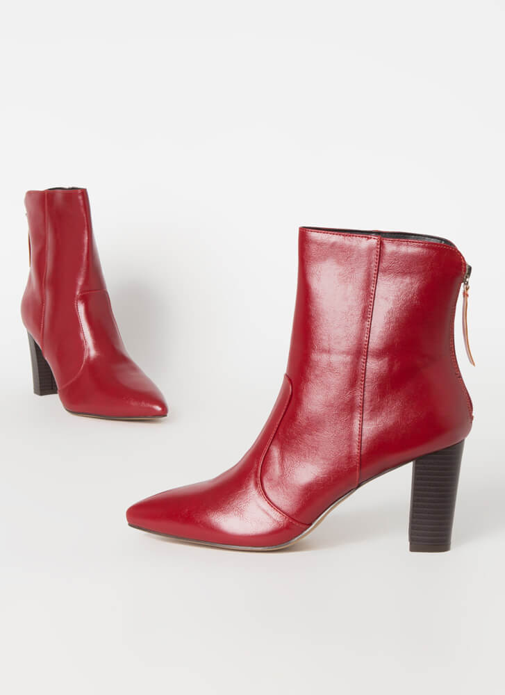 Fashion Expert Chunky Pointy Booties BURGUNDY