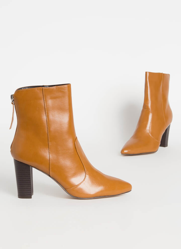 Fashion Expert Chunky Pointy Booties COGNAC