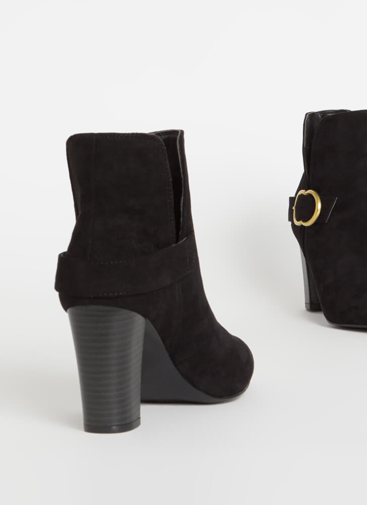 Up A Notch Buckled Faux Suede Booties BLACK