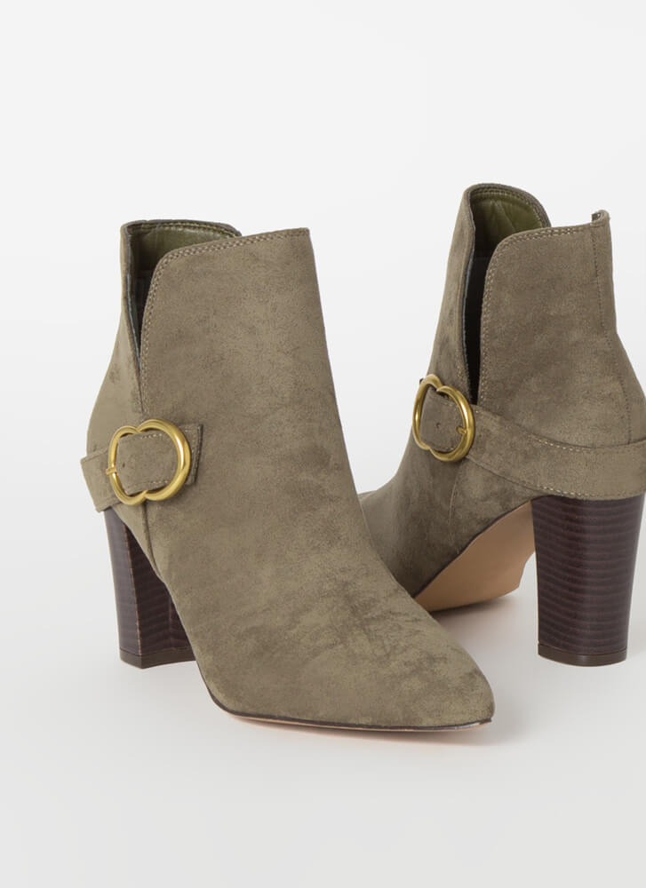 Up A Notch Buckled Faux Suede Booties OLIVE