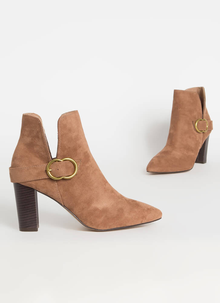 Up A Notch Buckled Faux Suede Booties TAUPE