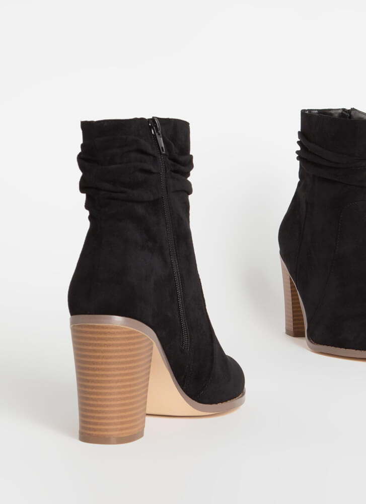 No Slouch Chunky Faux Suede Booties BLACK