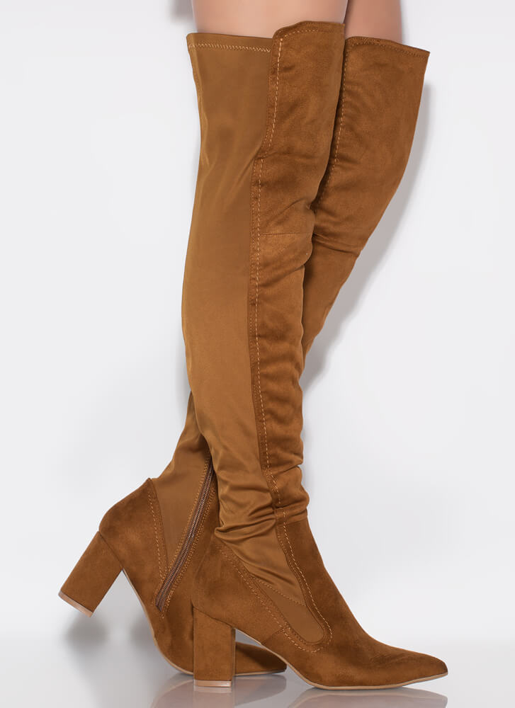 Pull Up Chunky Pointy Thigh-High Boots CHESTNUT