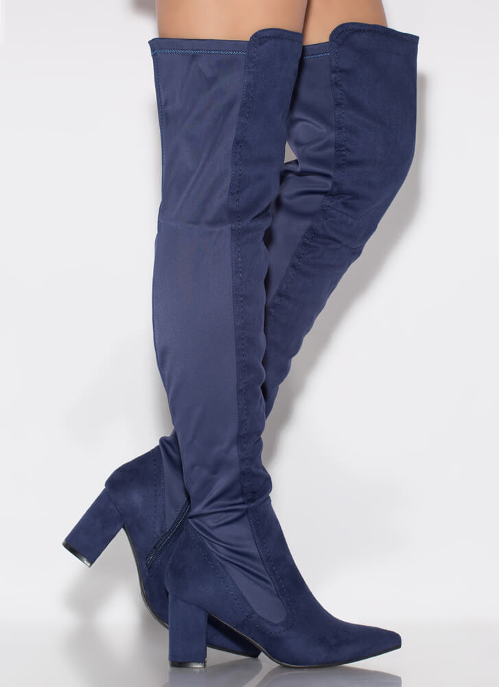 Pull Up Chunky Pointy Thigh-High Boots NAVY