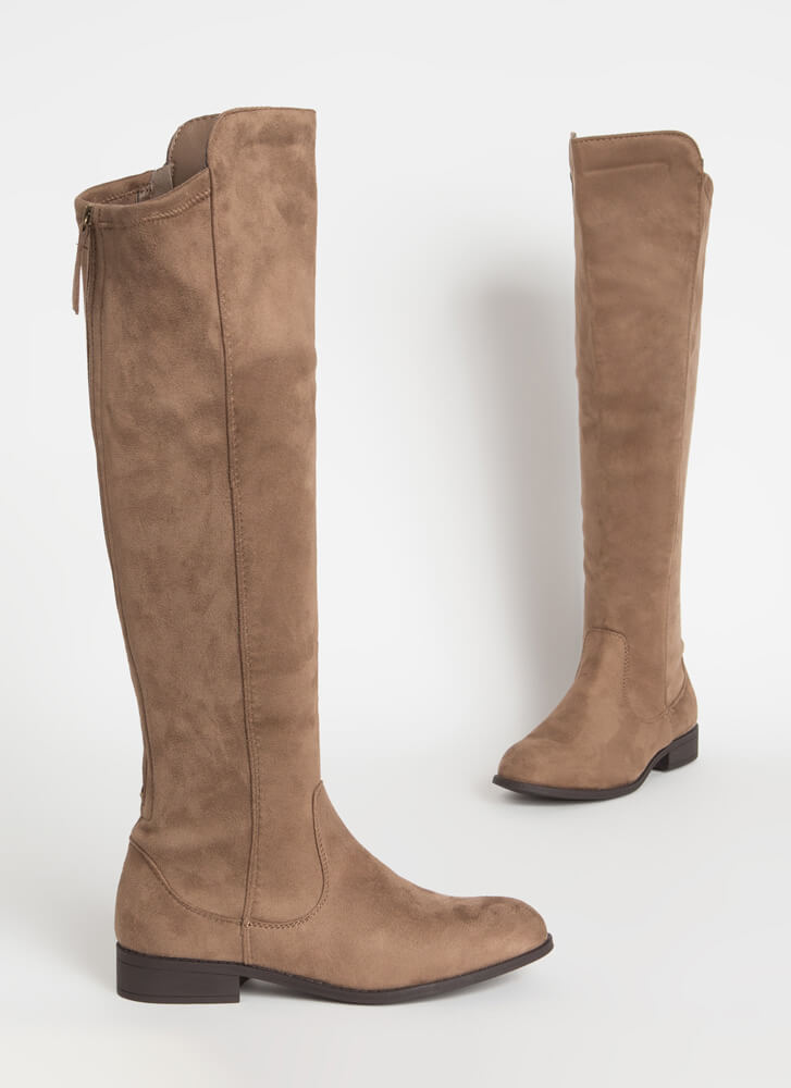 The Expandables Zip-Up Knee-High Boots TAUPE