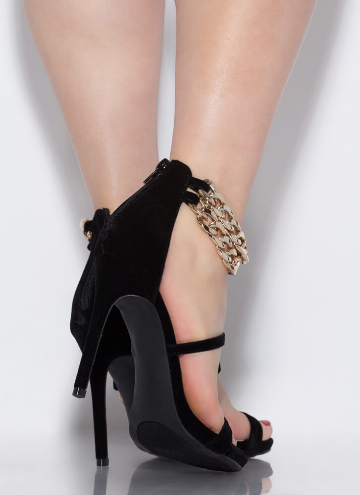 Price Tag Strappy Chained Heels BLACK