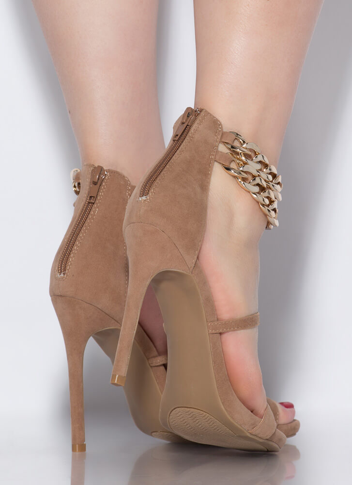 Price Tag Strappy Chained Heels TAUPE