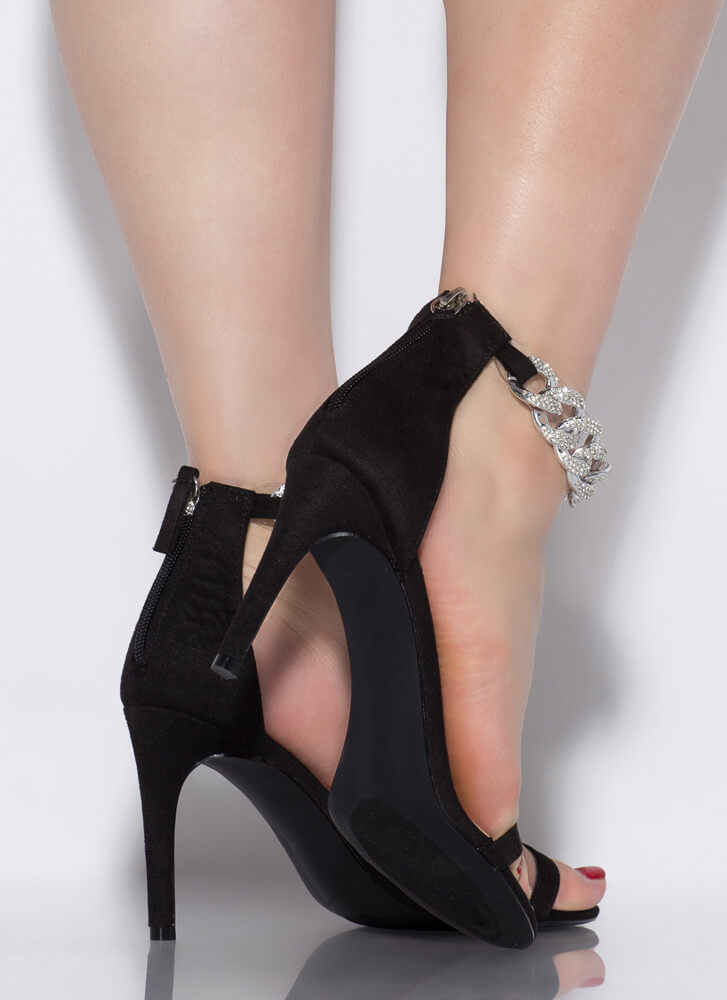 Bling It Up Jeweled Chain Strap Heels BLACK