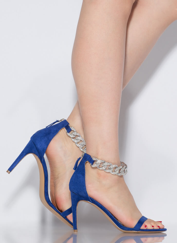 Bling It Up Jeweled Chain Strap Heels BLUE