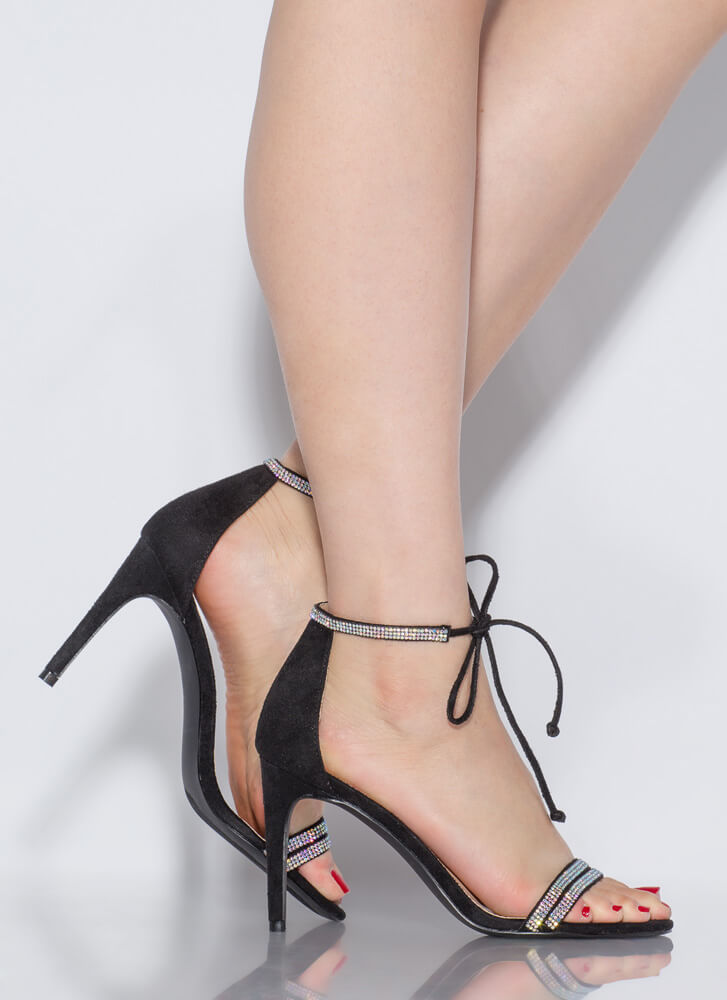 Bling To The Party Tied Jeweled Heels BLACK
