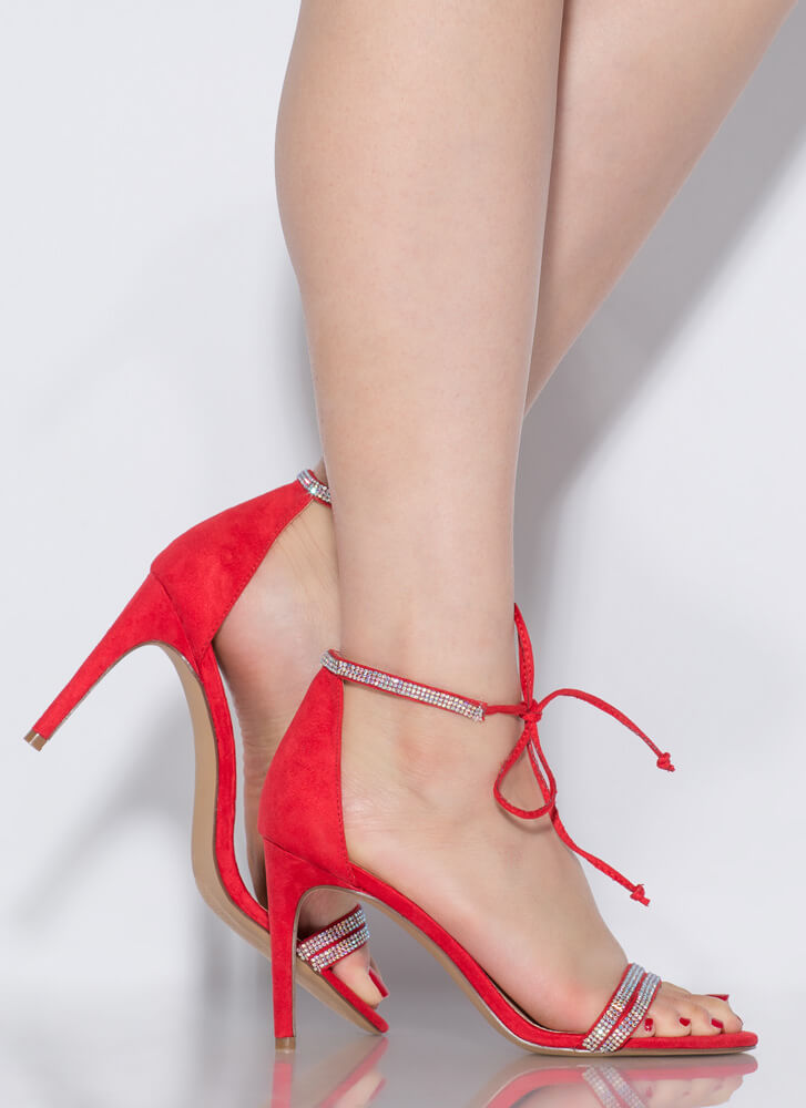 Bling To The Party Tied Jeweled Heels RED