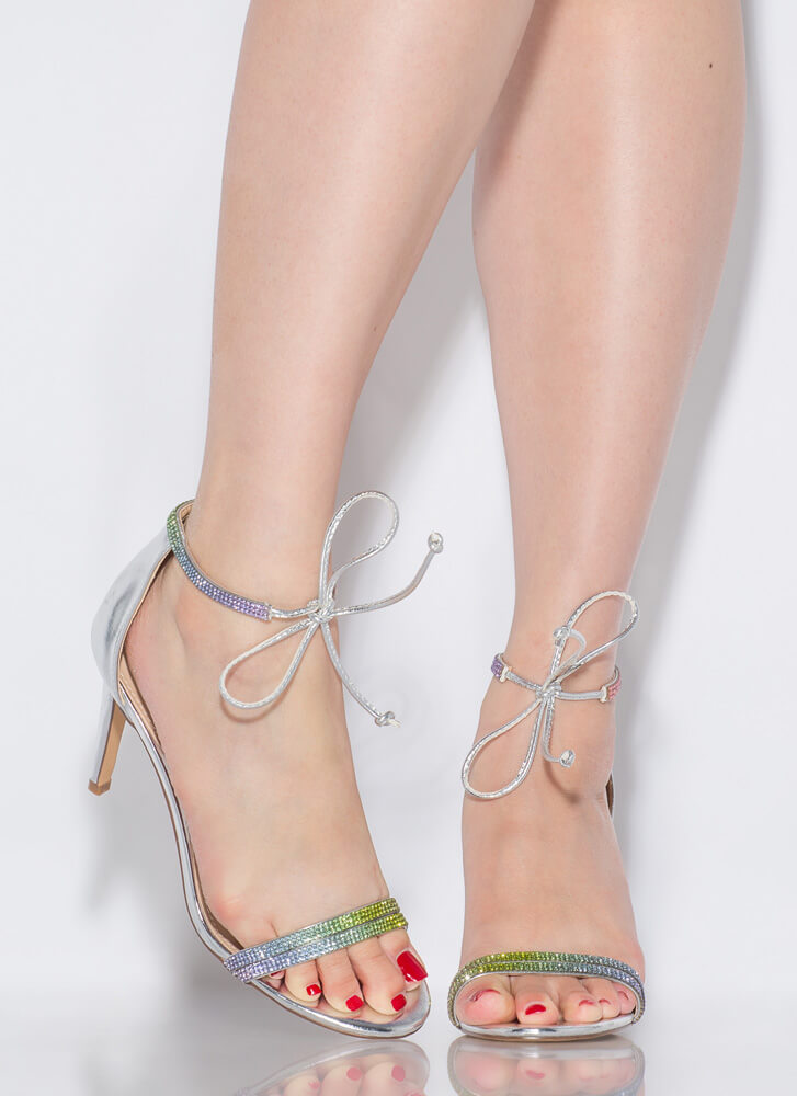 Bling To The Party Tied Jeweled Heels SILVER
