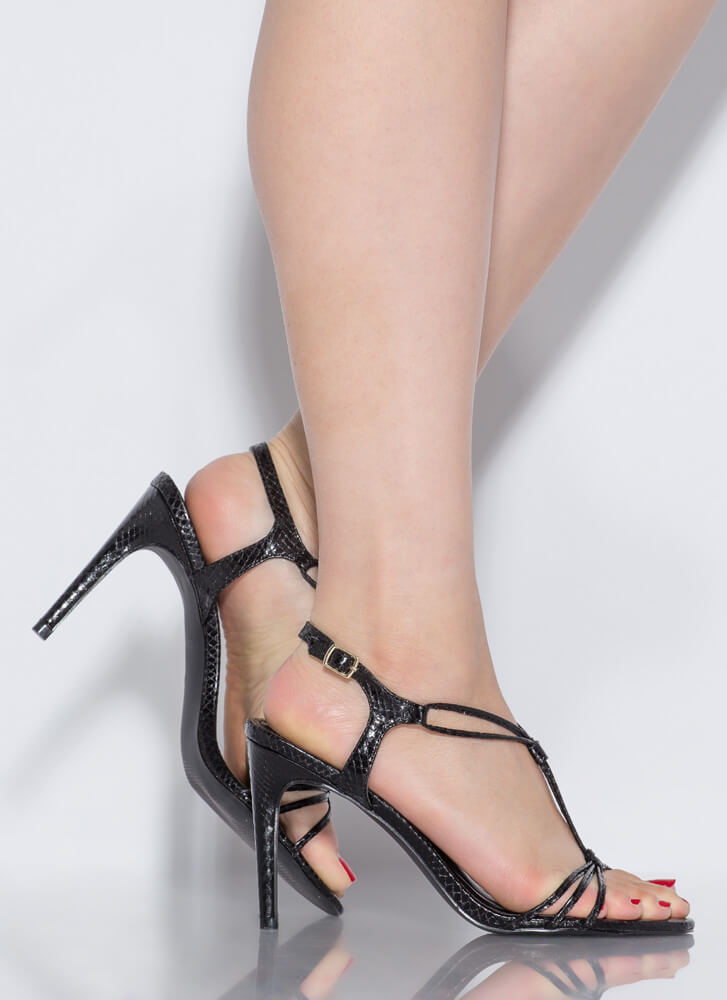 Knot Complaining Strappy Reptile Heels BLACK