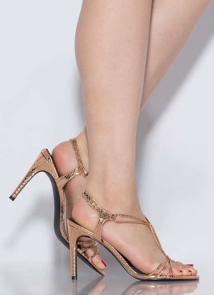 Knot Complaining Strappy Reptile Heels ROSEGOLD