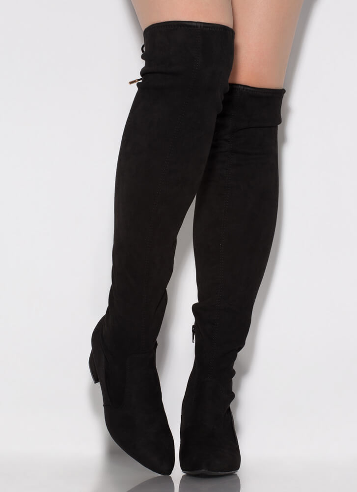 Still Tied Faux Suede Thigh-High Boots BLACK