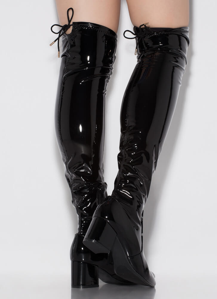 Still Tied Faux Patent Thigh-High Boots BLACK