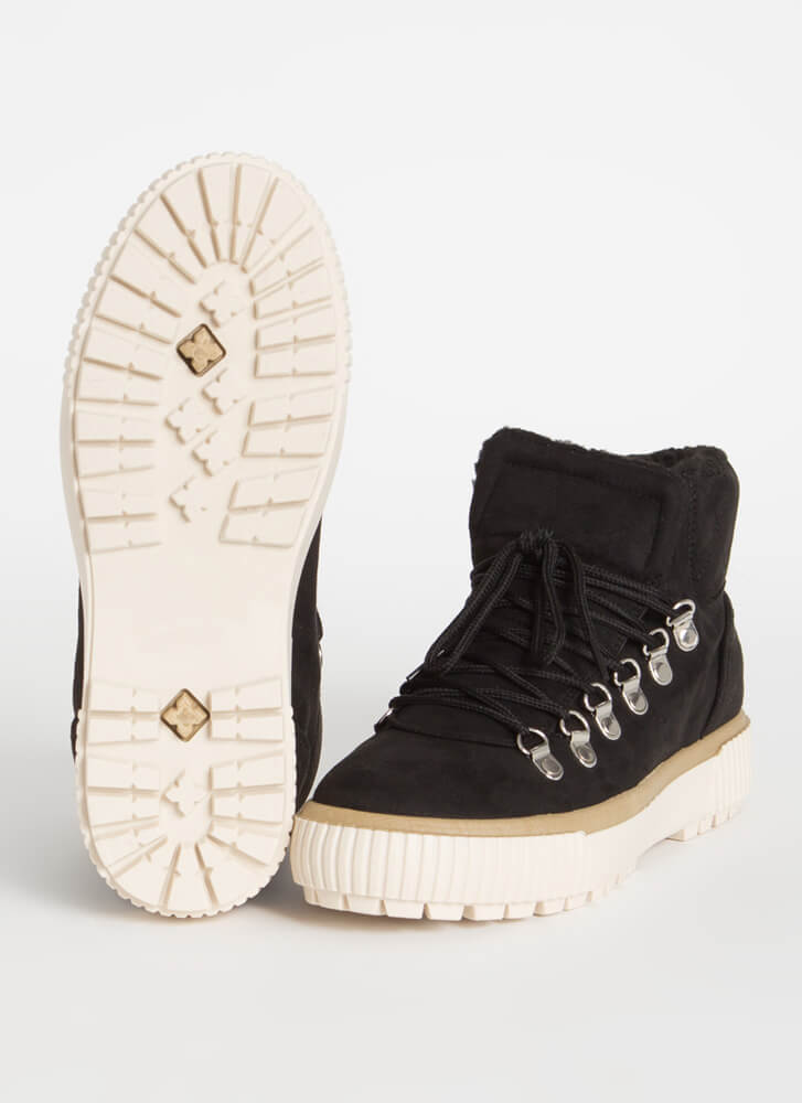 Cool It Faux Shearling High-Top Sneakers BLACK
