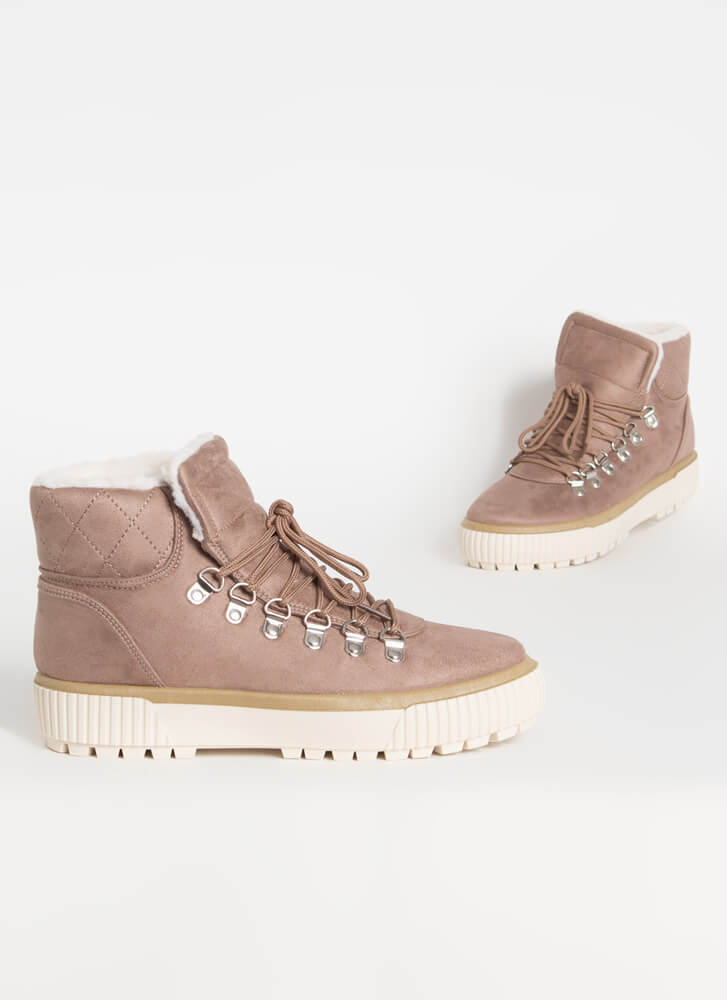 Cool It Faux Shearling High-Top Sneakers LTTAUPE