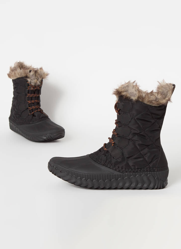 Outdoorsy Quilted Fur-Trimmed Duck Boots BLACK