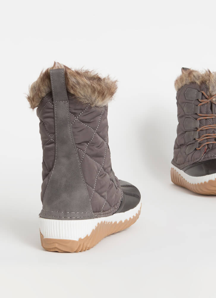 Outdoorsy Quilted Fur-Trimmed Duck Boots GREY