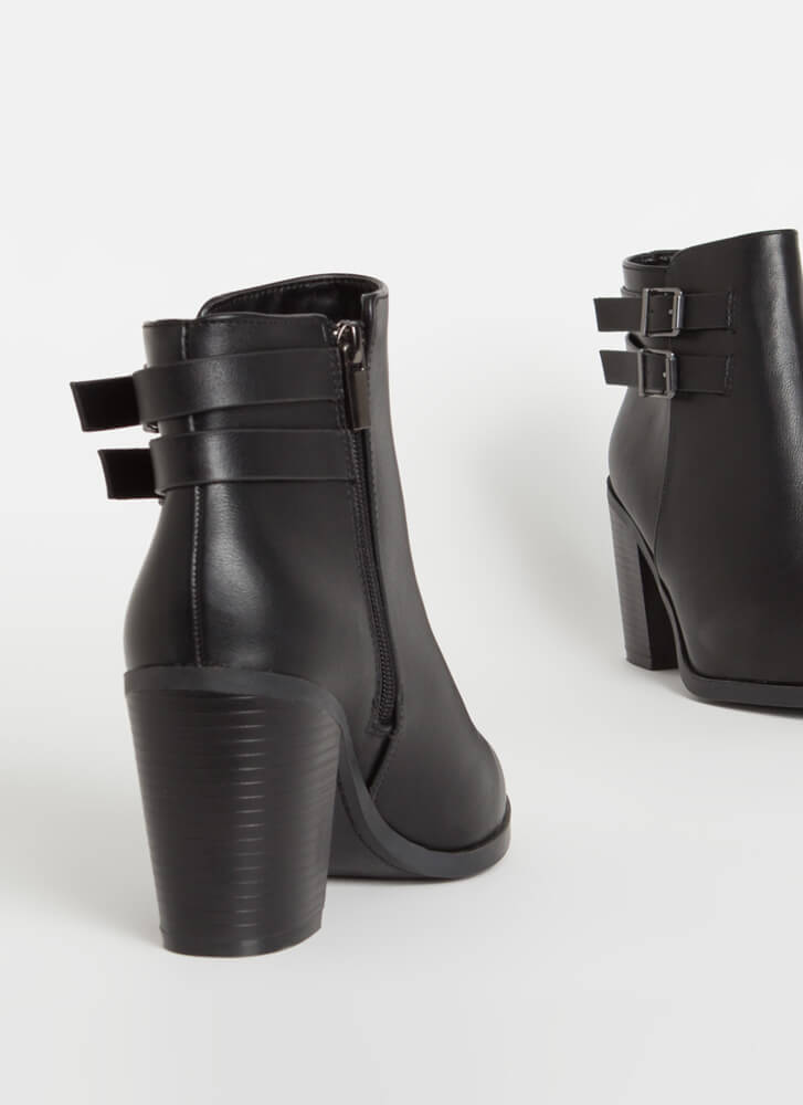 Strapped For Chunky Faux Leather Booties BLACK