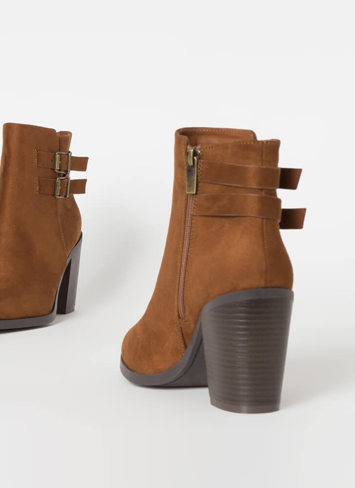 Strapped For Chunky Faux Suede Booties TOBACCO
