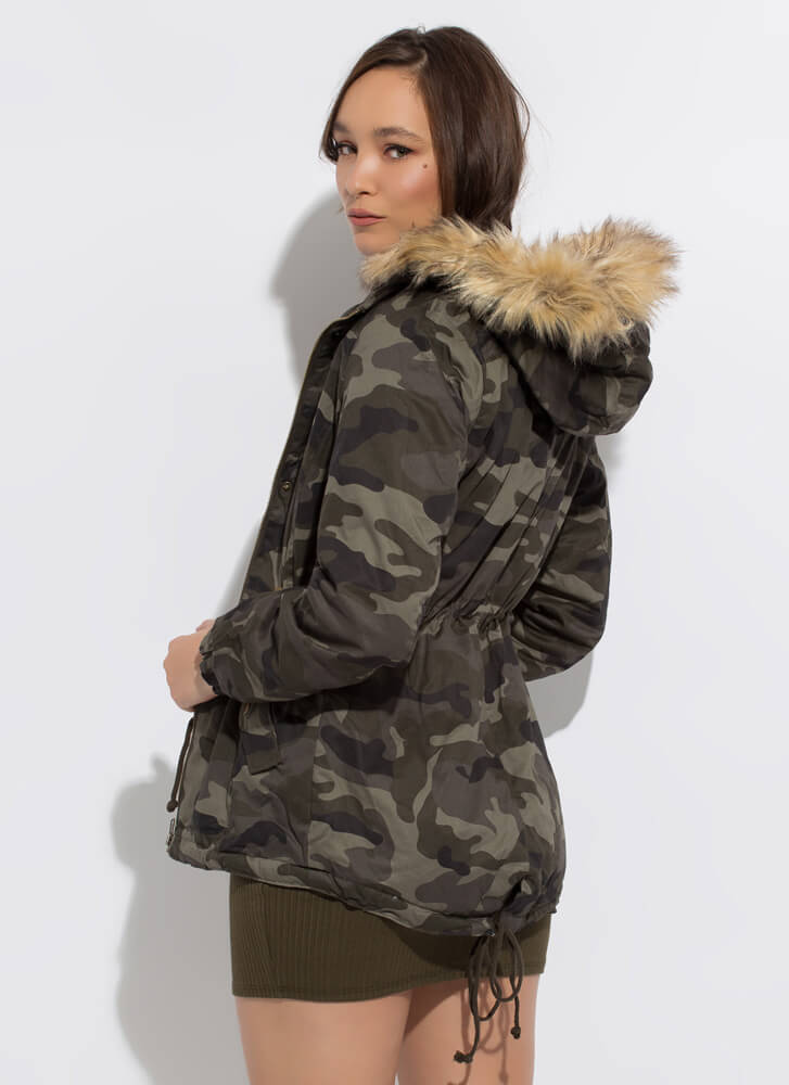 Out Cold Hooded Fur-Trimmed Camo Jacket OLIVE