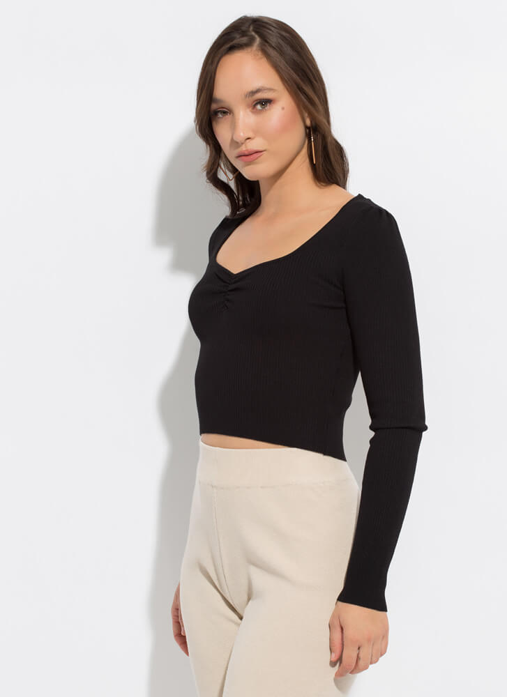 Pinch Me Rib Knit Cinched Chest Top BLACK