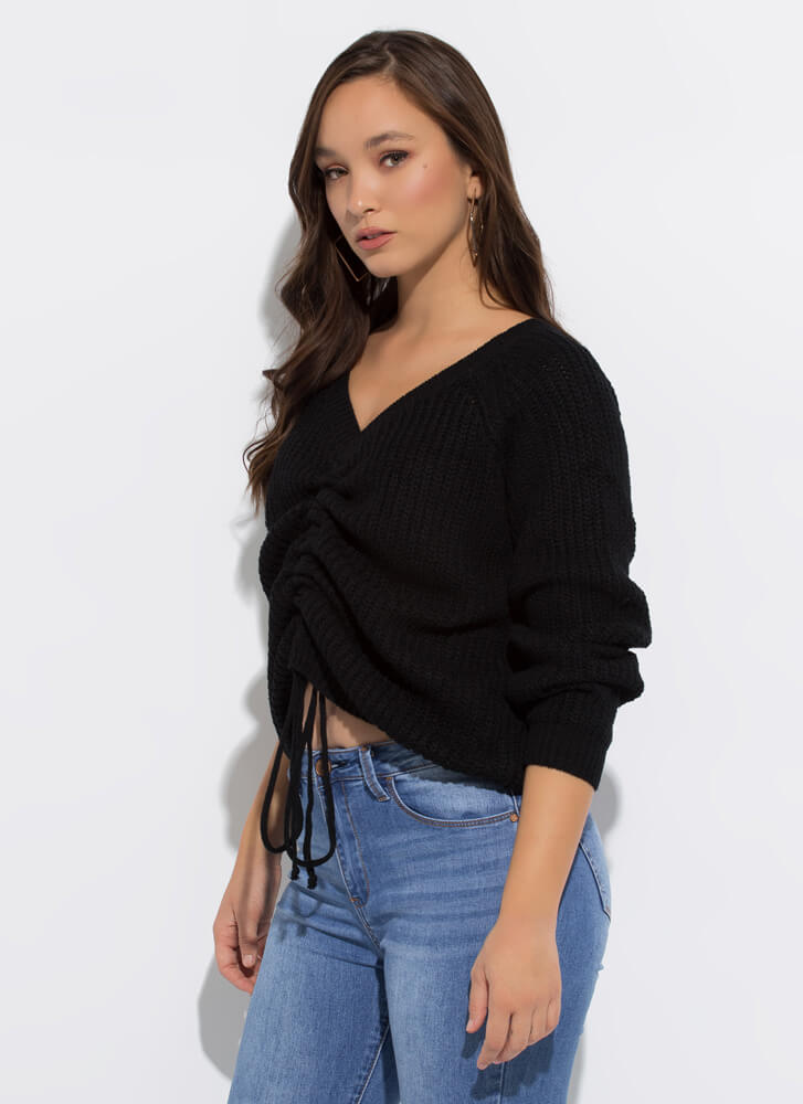 Scrunch Time Shirred Drawstring Sweater BLACK