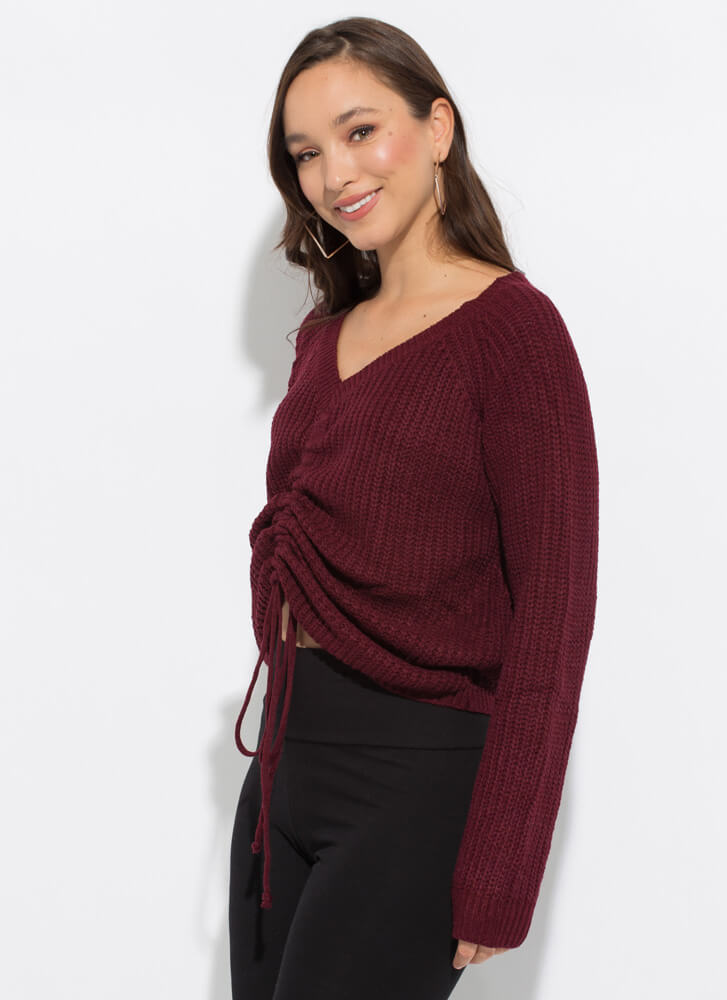 Scrunch Time Shirred Drawstring Sweater WINE