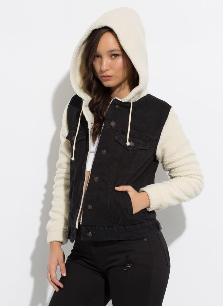 Shearling Chic Hooded Denim Jacket BLACK
