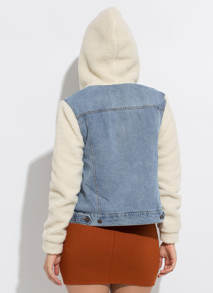Shearling Chic Hooded Jean Jacket BLUE