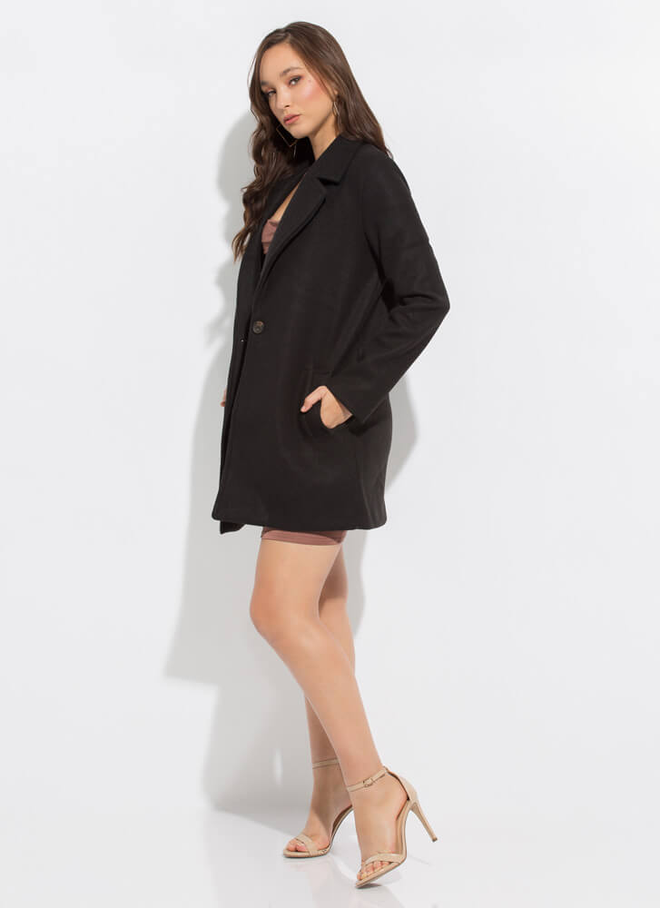 Style In The City Wide Lapel Top Coat BLACK