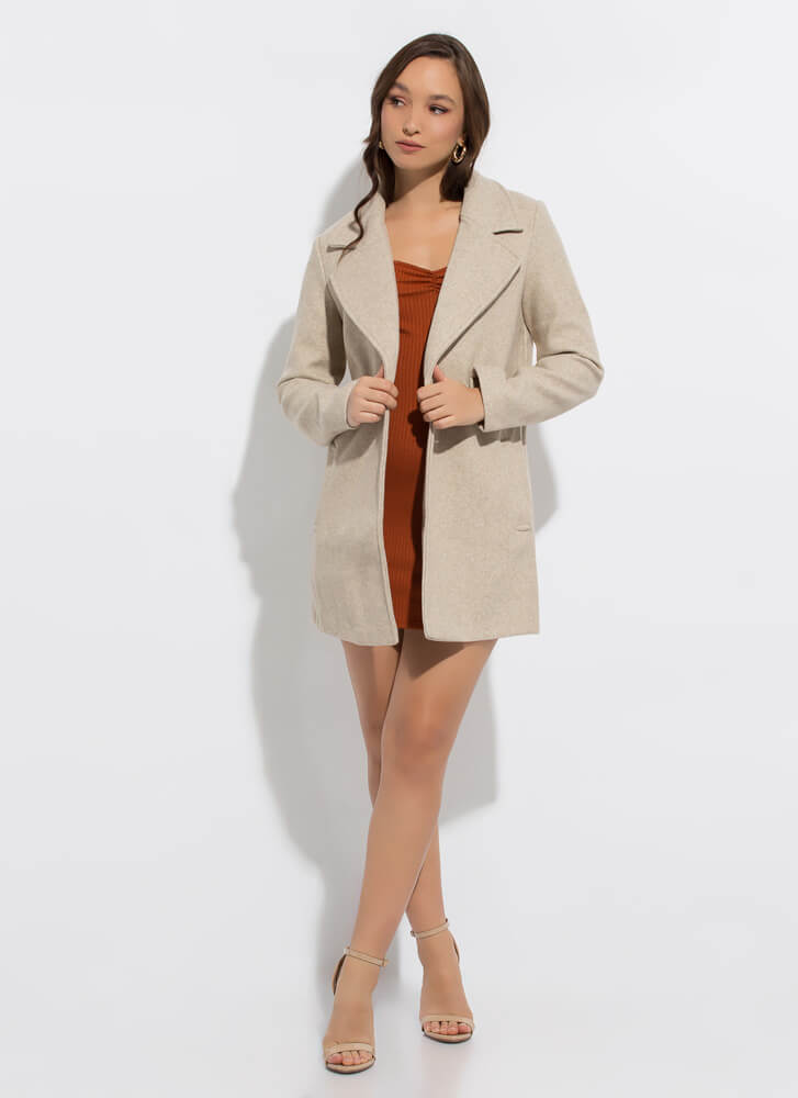 Style In The City Wide Lapel Top Coat OATMEAL