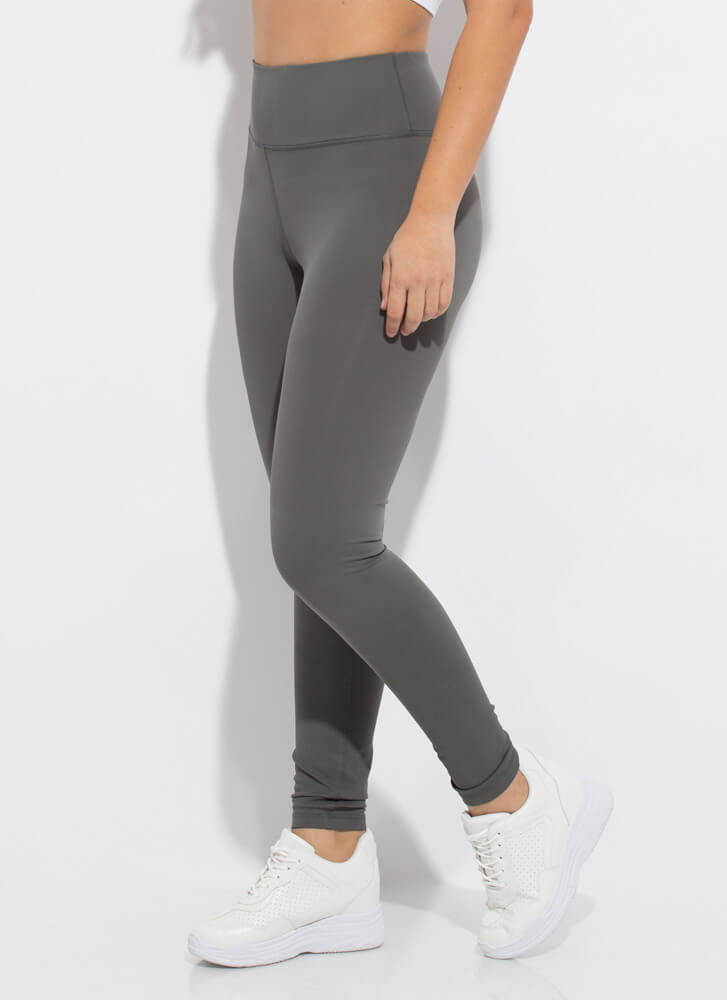 Get Fit Textured High-Waisted Leggings GREY