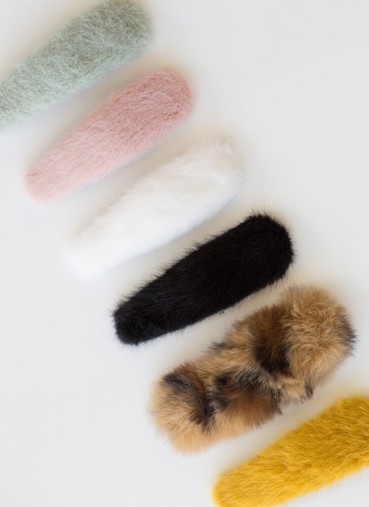 Fuzzy And Furry Oversized Hair Clip Set MULTI