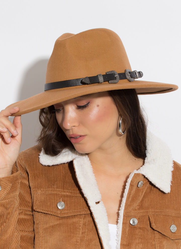 Going West Belted Wide-Brim Wool Fedora TAN