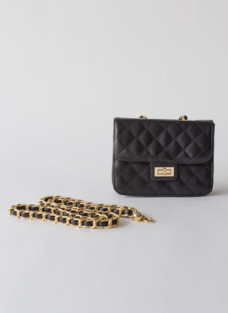 Chain-ge Quilted Crossbody Purse BLACK