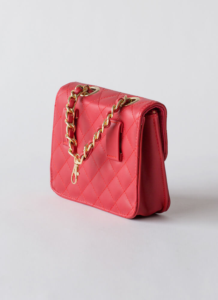 Chain-ge Quilted Crossbody Purse RED