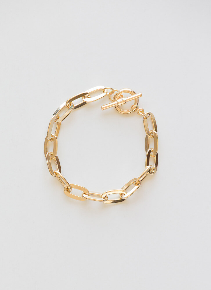 Oh-So-Chic Cable Chain Toggle Bracelet GOLD