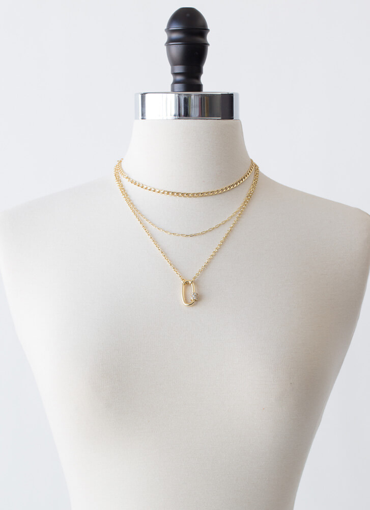 Final Link Layered Charm Necklace GOLD
