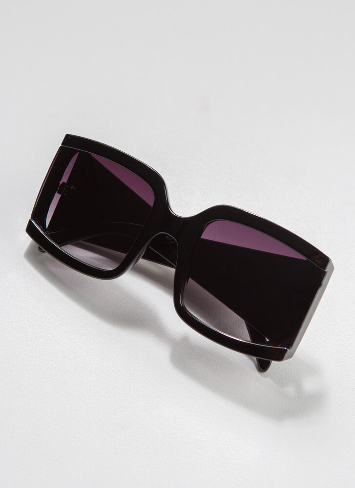 Side Note Thick-Rimmed Sunglasses BLACK