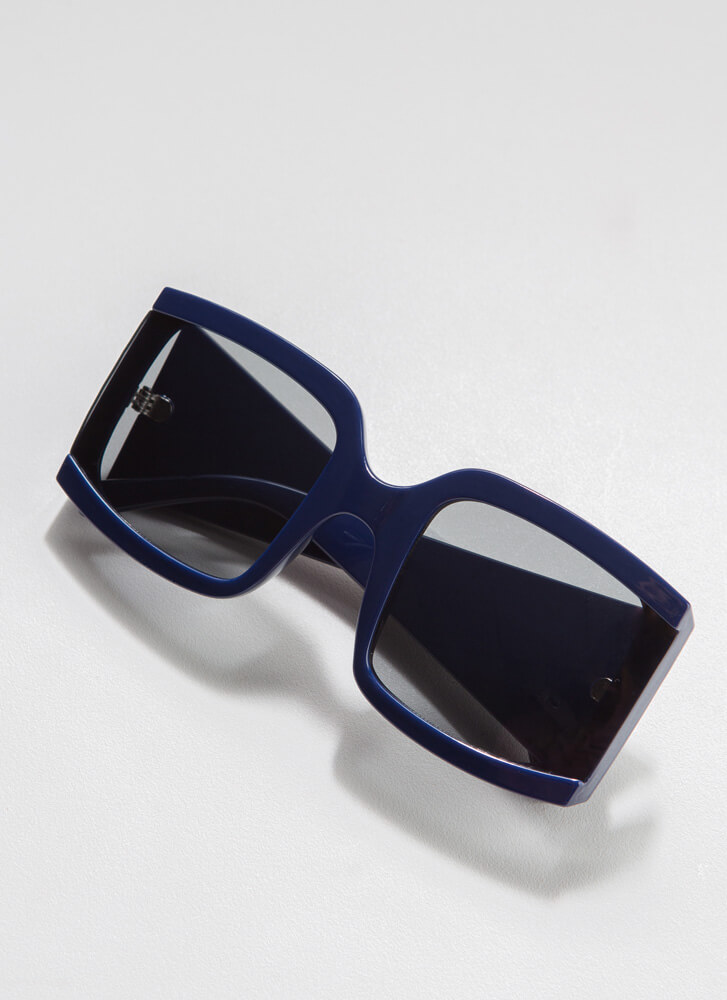 Side Note Thick-Rimmed Sunglasses BLUE
