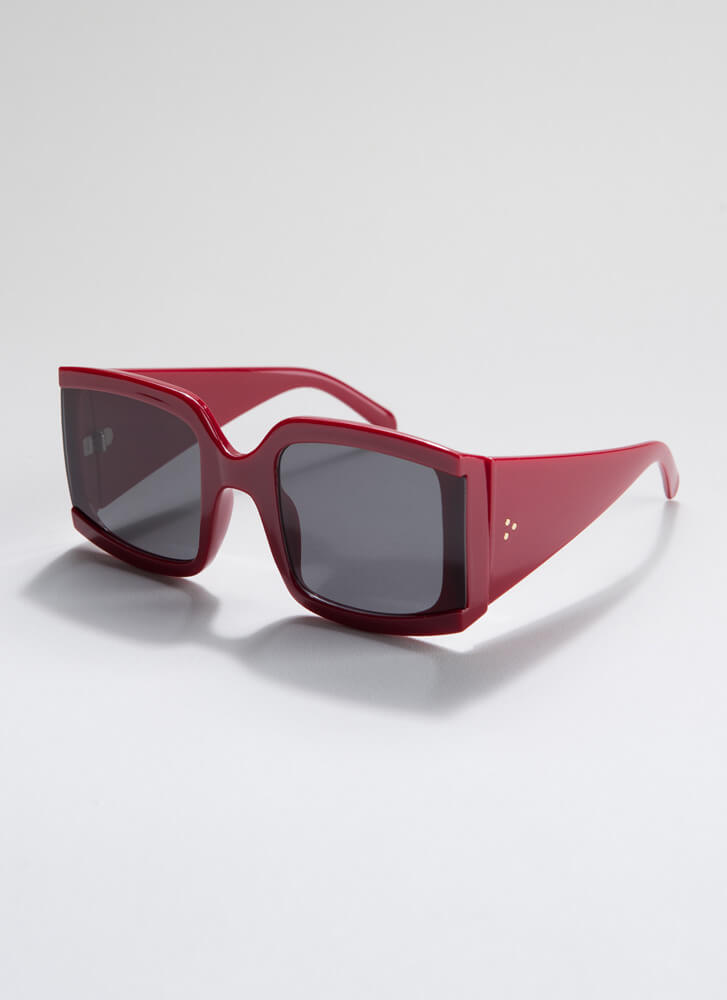 Side Note Thick-Rimmed Sunglasses RED