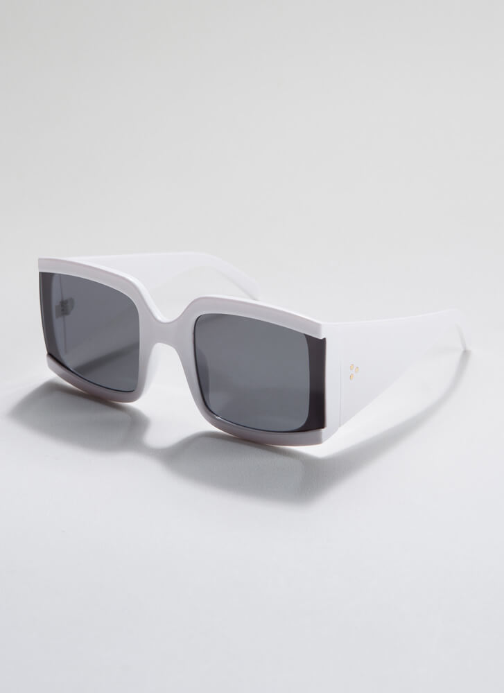 Side Note Thick-Rimmed Sunglasses WHITE