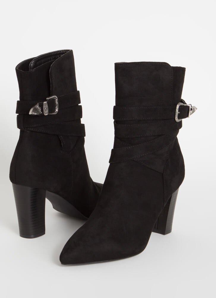 Wrapped Around My Chunky Strappy Booties BLACK