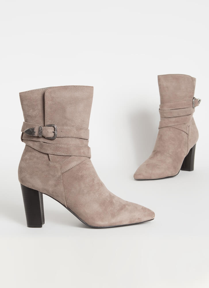 Wrapped Around My Chunky Strappy Booties GREY