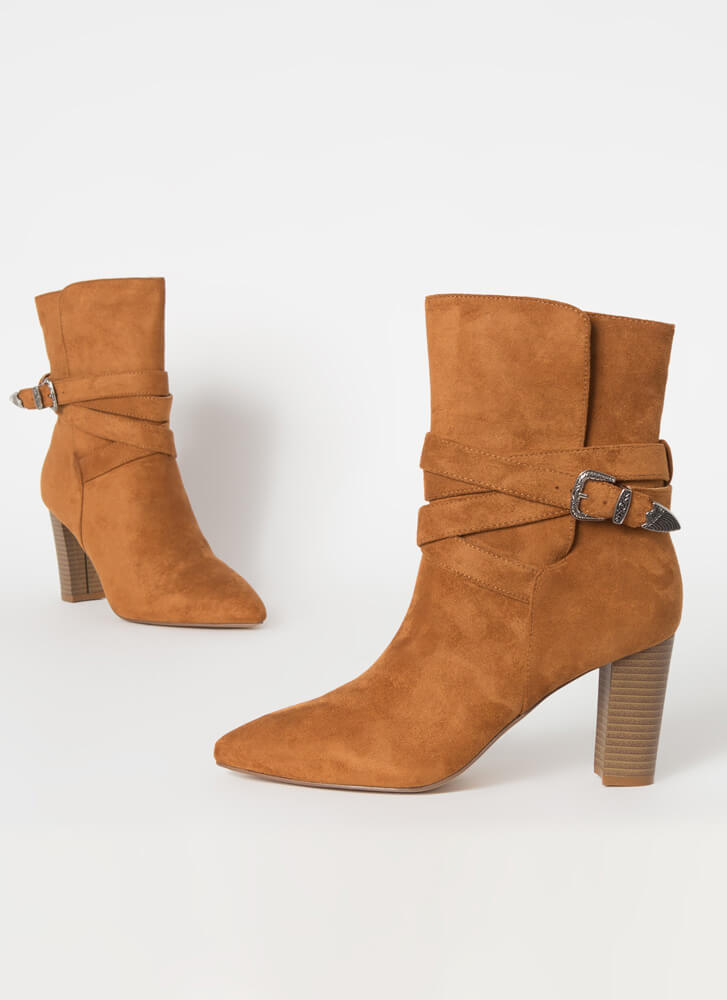 Wrapped Around My Chunky Strappy Booties MOCHA