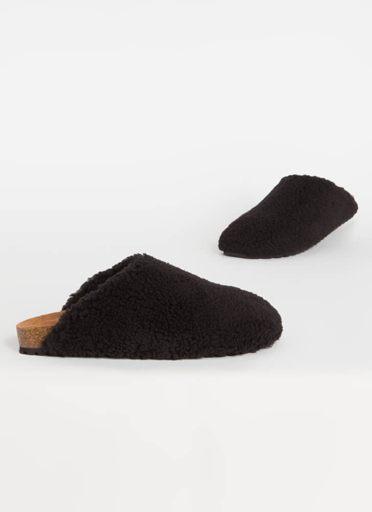 Feel Right At Home Furry Slipper Flats  BLACK